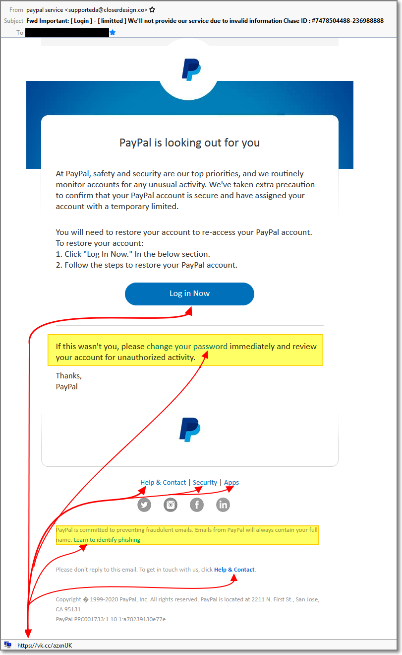 Phishing/SPAM Example Series – Number 2